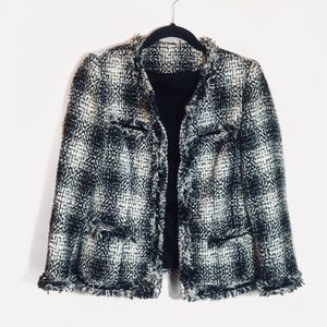 Vintage Check Tweed Fringe Blazer Chanel Jacket